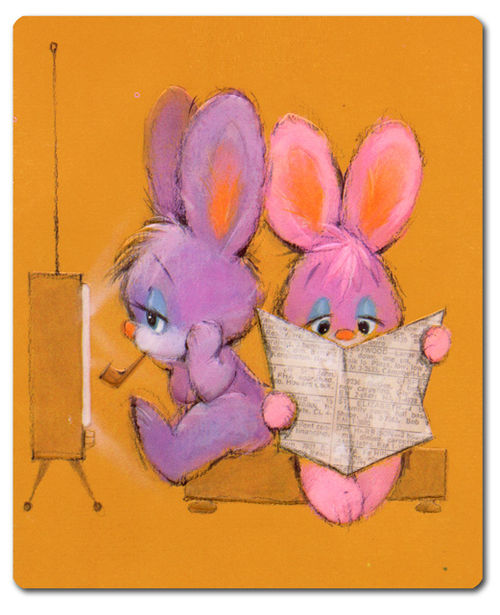 Vintage easter card tv mouse pinkytoast