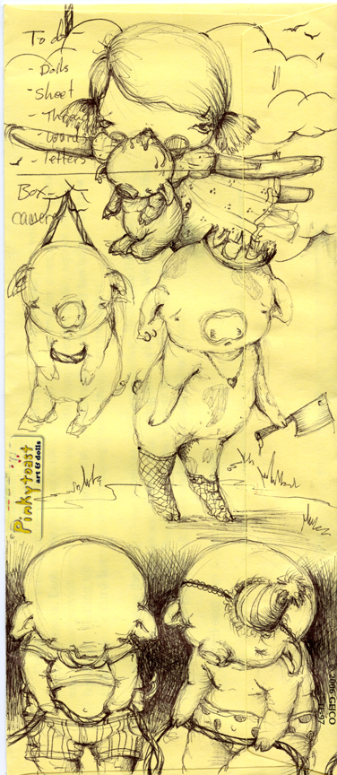 Piggy drawing art pinkytoast