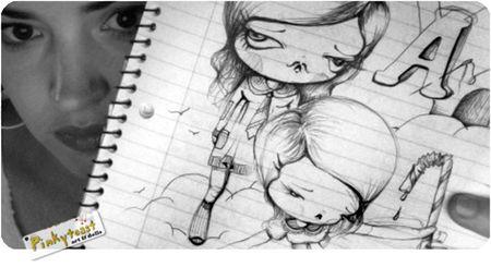 Peeking pinkytoast sketch drawing
