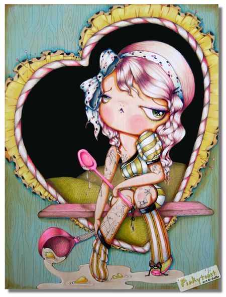 Love Spoon-Platinum Tattoo Pinup Girl. Love spoon tattoo painting pinkytoast
