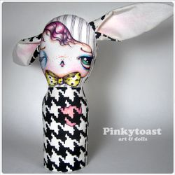 Hounds tooth black eyed bunny pinkytaost doll 3