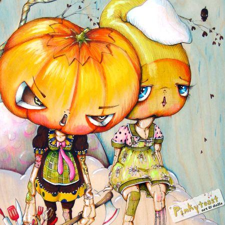 Halloween pumpkin baker candycorn pinkytoast painting 5