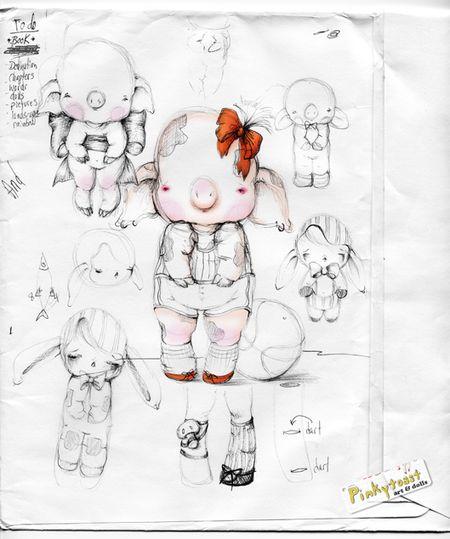 Sketchbook pinkytoast pig ball dolls pinkytoast