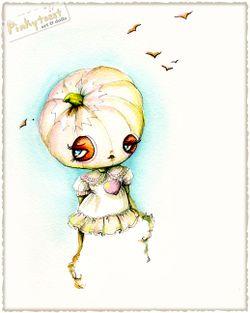 Pumpkin girl pink heart ink pinkytoast