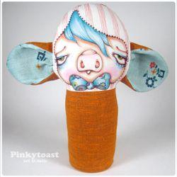 Vintage orange pig pinkytoast mummy doll 1