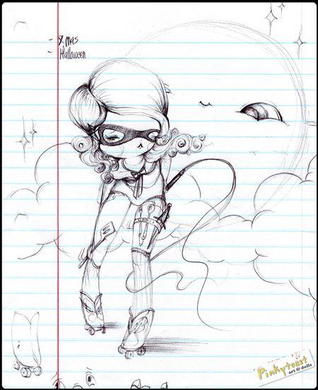 Roller girl sketch pinkytoast