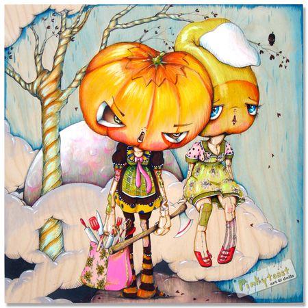 Halloween pumpkin baker candycorn pinkytoast painting