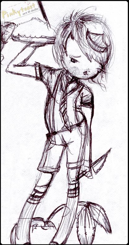 Sweet pie girl sketch pinkytoast