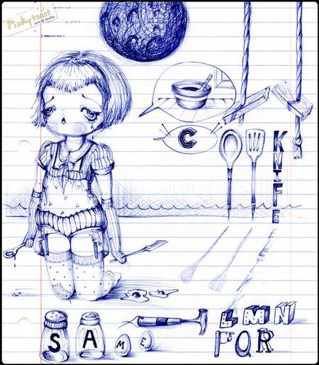 Same girl sketch pinkytoast