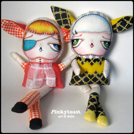 Long leg yellow zigzag cat girl doll pinkytoast 4