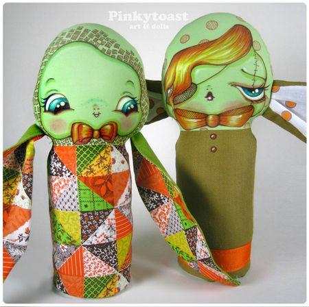 Green quilt bunny vintage halloween pinkytoast mummy doll