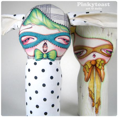 Polk a dot halloween mummy rabbit doll mask 3