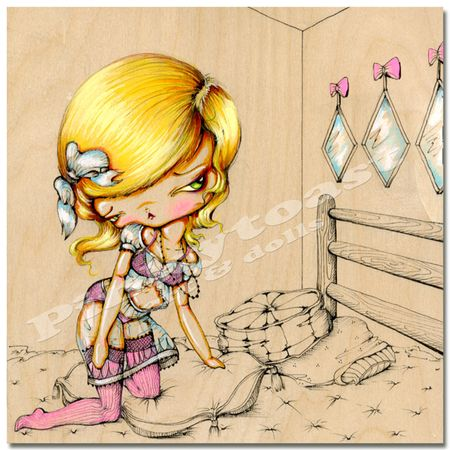 Blonde bedroom pinup pinkytoast 1 8x8