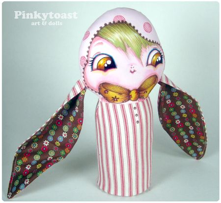 Pink bunny girl in stripes pinktoast mummy doll 2