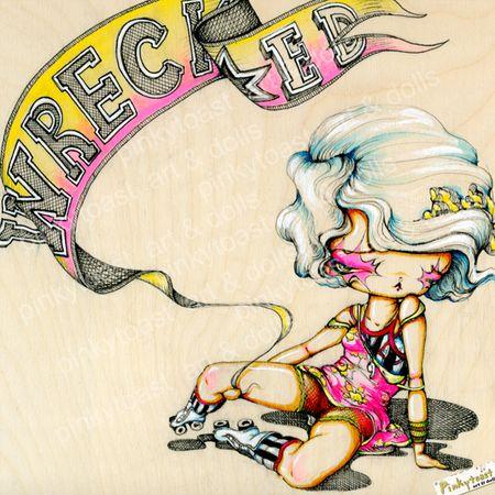 Rollerskate derby girl pinkytoast painting 2