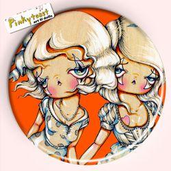 Orange sitting twins pocket mirror pinkytoast 2