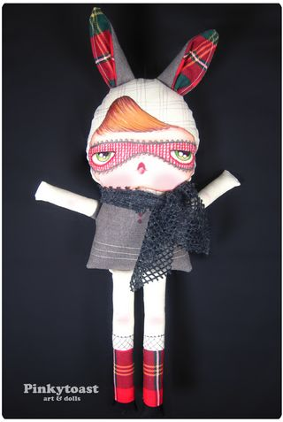 Red plaid bunny rabbit pinkytoast doll long leg 1