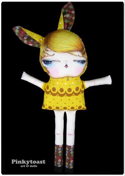 Yellow banana cream pie bunny long leg doll pinkytoast 4