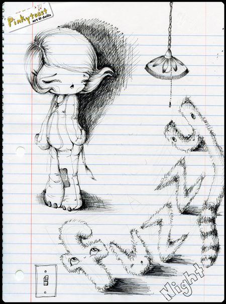 Fuzzy night monster girl drawing sketch