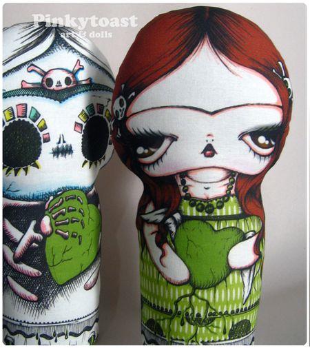 3 pinkytoast frida big eyed green heart love doll spoonflower