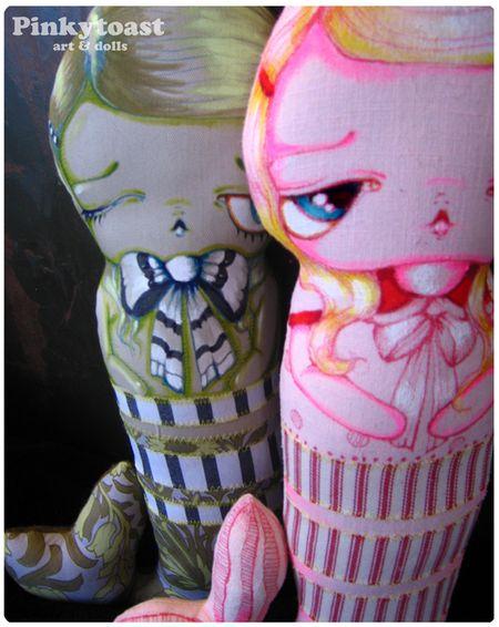 3 pink peppermint mermaid art doll pinkytoast