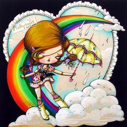 Rainboots rainbow girl pinkytoast art etsy