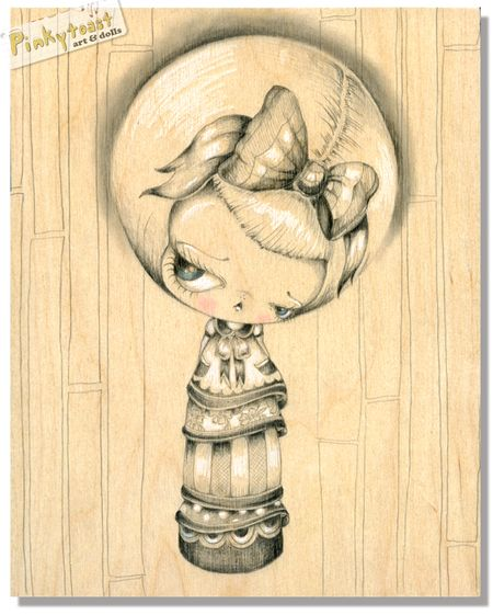 1 wood kokeshi doll drawing pinkytoast