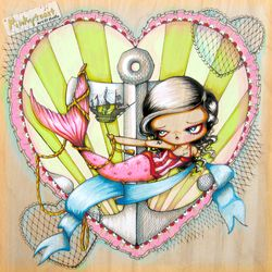 Mermaid loves a pirate ship pinkytoast etsy