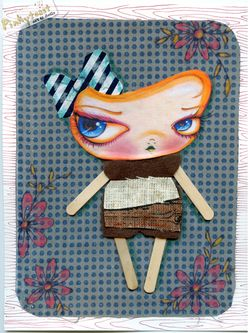 Blue polka dot background popsicle girl collage pinkytoast