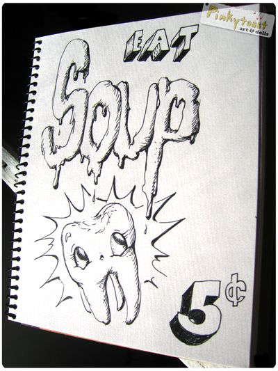 Eat soup sore tooth pinkytoast sketch