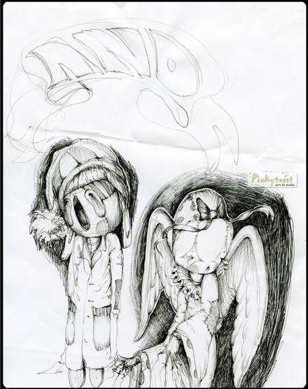 Angel wings and sleepy popsicle pinkytoast sketch 2010