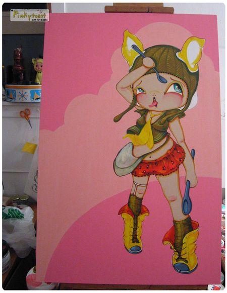 Spoonfull pinkytoast oil painting 4
