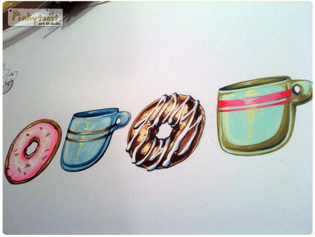 Coffe and donuts studio pinkytoast painting
