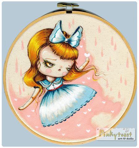 Alice in wonderland pinkytoast painting embroidery hoop
