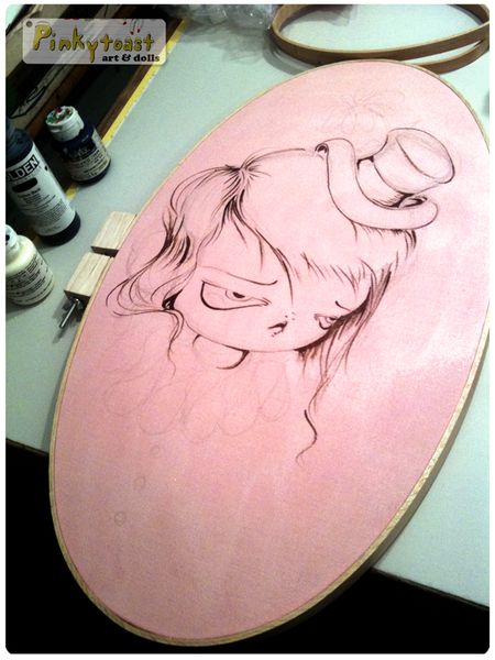 4 magic clown wears a flower in her hat pinkytoast painting oval pink
