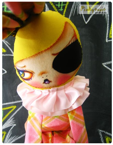 Lemon 4 eye patch bunny in pink plaid pinkytoast art doll