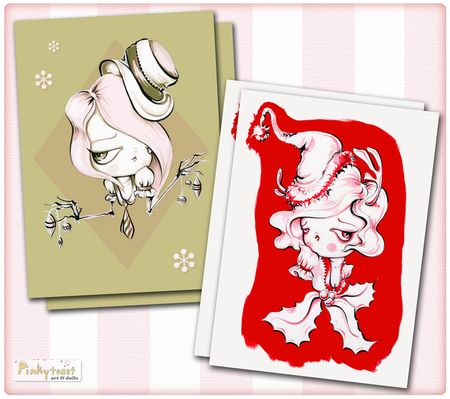 Jackie frost mistletoe girl christmas card pinkytoast
