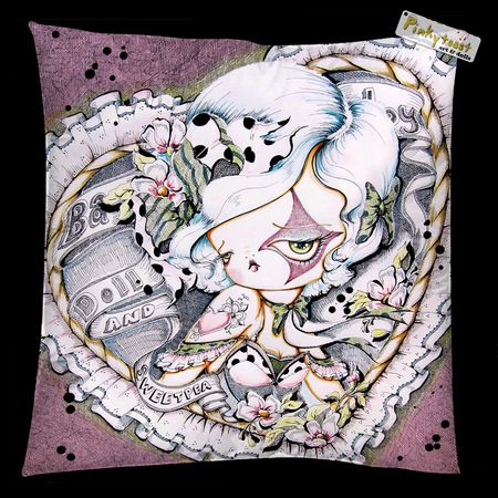 Pinkytoast sweetpea tattoo pillow square