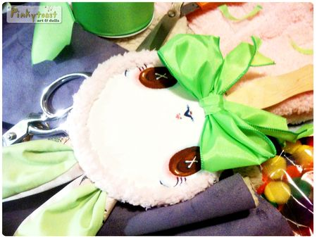 Lollipop bunny doll button eyes pinkytoast