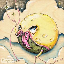 Baby moon balloon painting pinkytoast etsy