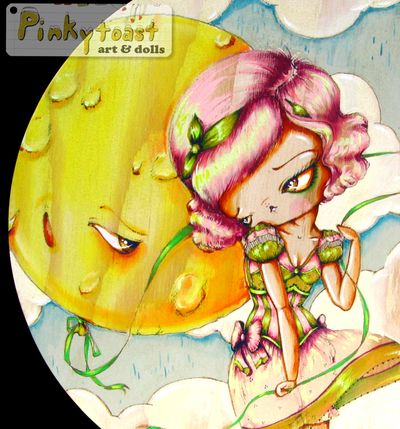 3 moon balloon and strawberry popsicle girl pinkytoast art
