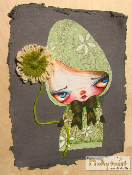 2 green flower gnome pinkytoast collage