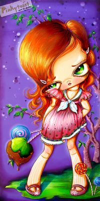 Purple candy apple girl pinkytoast etsy