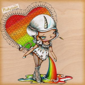 Unicorn with a rainbow in her pocket pinkytoast etsy