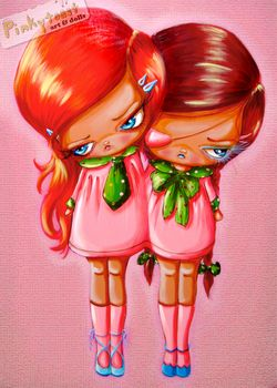 Redhead twins in pink dresses pinkytoast