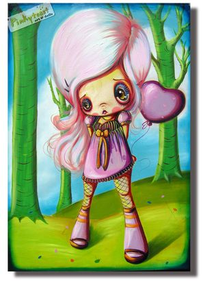 Purple heart balloon pinkytoast oil painting