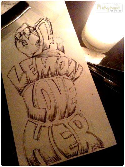 Lemon love her dinner napkin drawing pinkytoast
