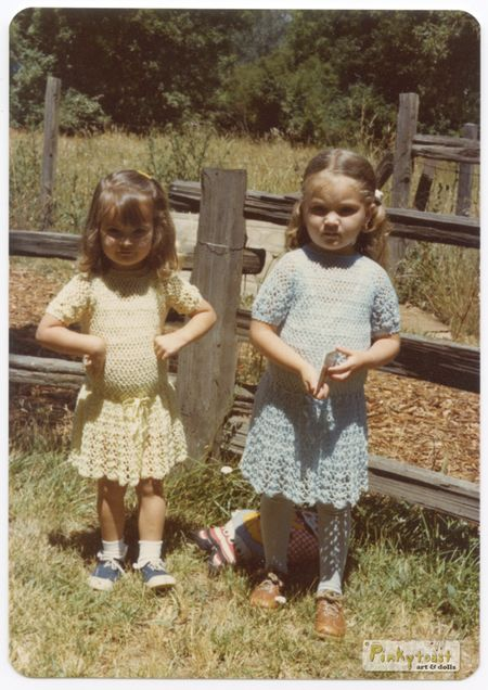 Little sandra and sister in yellow and blue dresses pinkytoast