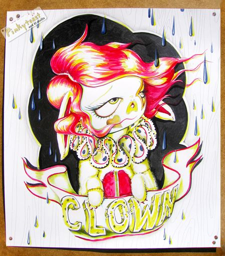Red and yellow rabbit clown pinkytoast ink drawing