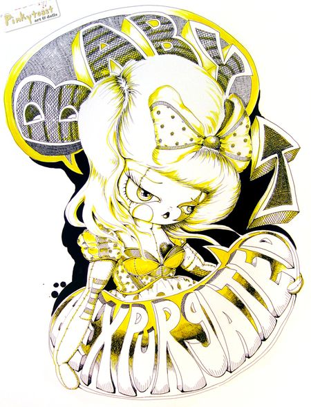 3 black and yellow thought bubble ink drawing pinkytoast